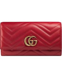Gucci GG Marmont Continental Wallet - Red