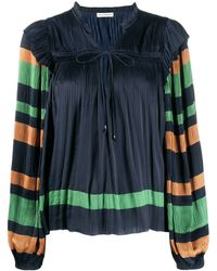 Ulla Johnson Striped sleeves pleated peasant blouse - Azul