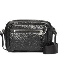 Burberry Monogram Leather Crossbody Bag - Black