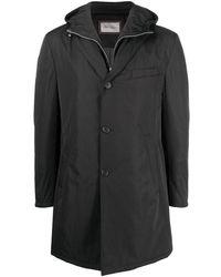 Corneliani レイヤード フーデッドコート - ブラック