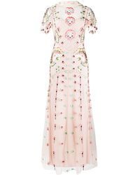 Temperley London Платье Из Тюля С Вышивкой - Розовый