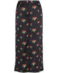 BERNADETTE June Floral Print Midi Skirt - Black