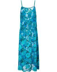 Fleur du Mal Платье Миди С Цветочным Узором - Синий