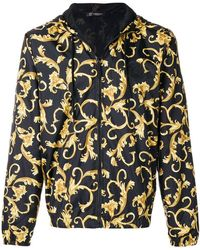 Versace Jeans Duchesse Techno Baroque Print Bomber Jacket In Black