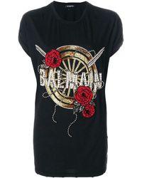 Balmain Oversized Beaded Logo T-shirt - Черный