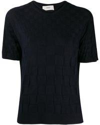 Pringle of Scotland Woven Short-sleeve Sweater - Blue