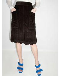 Victoria Beckham Pantalones cortos estilo culotte de pana - Marrón