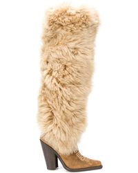 DSquared² Faux-fur Pointed Boots - Natural