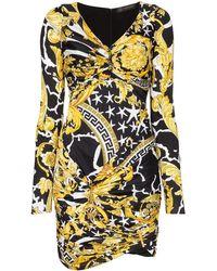 Versace ストレッチジャージー ミニワンピース - ブラック