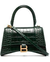 Balenciaga Sac porté épaule Hourglass à effet peau de crocodile - Vert