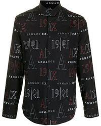 Armani Exchange グラフィック シャツ - ブラック