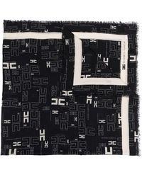 Elisabetta Franchi ロゴ フレイド スカーフ - ブラック