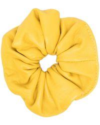 Manokhi Elasticated Leather Scrunchie - Yellow