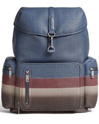 Ermenegildo Zegna Striped Leather Backpack - Blue