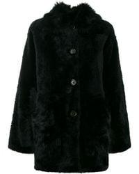 Yves Salomon Oversized Faux Fur Coat - Black