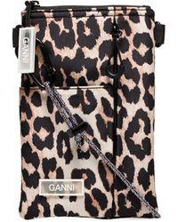 Ganni Leopard Print Cross-body Bag - Brown