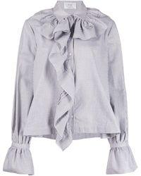 Victoria, Victoria Beckham Houndstooth-print Ruffled Blouse - White