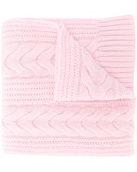 N.Peal Cashmere Cable-knit Cashmere Scarf - Pink
