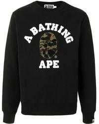 A Bathing Ape Embroidered Classic Logo Sweatshirt - Black