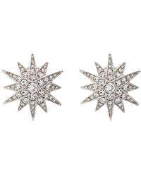 Kenneth Jay Lane Starburst Silver-tone Crystal Clip Earrings - Metallic