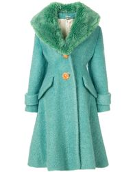 Miu Miu ファーカラー シングルコート - ブルー