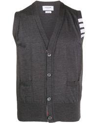 Thom Browne Dark Grey Fine Merino Wool V-neck 4-bar Vest - グレー