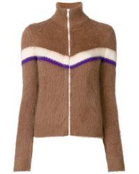 N°21 Colour-block Zip Jumper - Brown