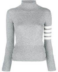 Thom Browne Striped turtleneck sweater - Gris