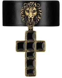 Gucci - Leather Choker With Cross Pendant - Lyst