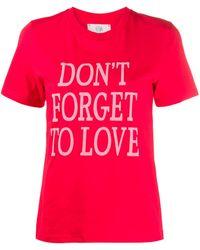 Alberta Ferretti Don't Forget To Love コットンジャージーtシャツ - レッド