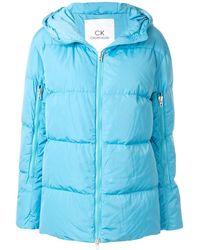 Calvin Klein Oversized Hooded Puffer Jacket - Blue