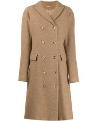 Nehera Double-breasted Longline Coat - Brown