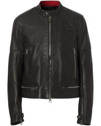 Burberry Veste en cuir à logo appliqué - Noir