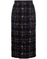 N°21 チェック ハイウエスト スカート - ブラック