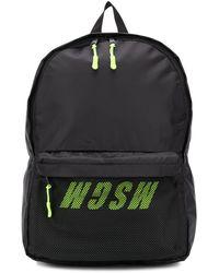 MSGM Mesh-panel Logo-print Backpack - Black