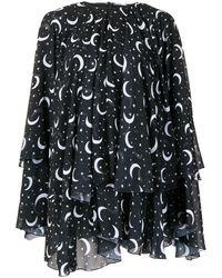 SemSem Moon And Star Print Kaftan Top - Black