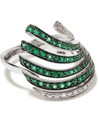 Brumani 18kt White Gold Buriti Emerald And Diamond Ring - Metallic