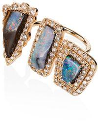 Kimberly Mcdonald 'Boulder 3 Opal' Ring mit Diamanten - Mehrfarbig