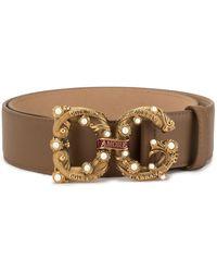Dolce & Gabbana Gürtel mit Logo - Braun