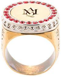 Alexander McQueen - Logo Embossed Signet Ring - Lyst