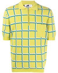 Anglozine Check-print Short-sleeved Polo Shirt - Green