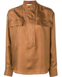 Cedric Charlier Mandarin Collar Shirt - Brown