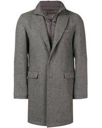 Herno Layered Single Breasted Coat - Gray