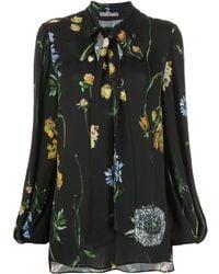 Lela Rose Blouse fleurie à col lavallière - Noir