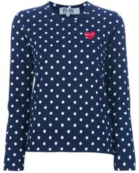 Play Comme des Garçons - Embroidered Heart Polka Dot T-shirt - Lyst