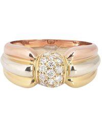 """Cartier """"Anello Trinity in oro giallo, rosa e bianco 18kt con diamante Pre-owned"""" - Metallizzato"""