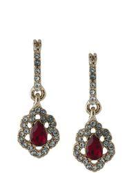 Marchesa notte Crystal-embellished Drop huggie Earrings - Metallic