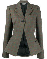 Nina Ricci Woven Check Blazer - Gray