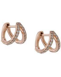 Carbon & Hyde Diamond And 14kt Rose Gold Split huggie Earrings - Metallic