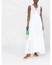 P.A.R.O.S.H. Платье Макси С Английской Вышивкой - Белый